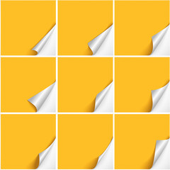 Set of six curved corners on yellow sheets