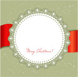 Christmas card with large snowflake on red ribbon.