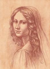 Девушка из древнего рода. Имитация старинного рисунка.