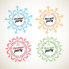 Set of Christmas and New Year labels. Party labels.