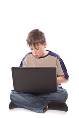 teenage boy with a laptop