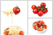 set with cherry tomatoes and spaghetti