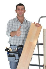 Thumbs up from a carpenter