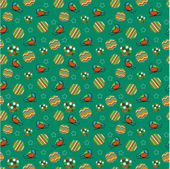 Cute christmas seamless pattern with bullfinch