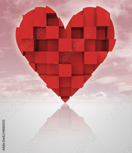 red romantic dimensional cubic heart with cloudy sky