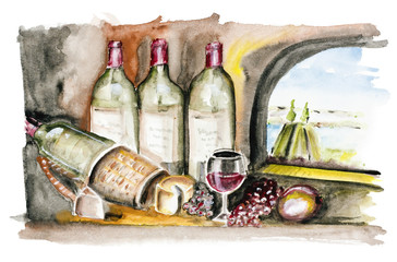 French wine isolated