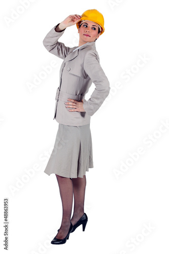 elegant businesswoman wearing a helmet