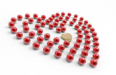 Cuore d'oro e perle rosse