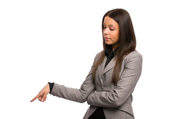 Business woman pointing down