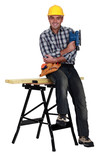 Tradesman sitting on a workbench poster