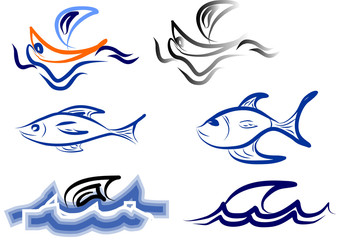 logo boat and fish on white for design products