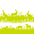 Easter Background Meadow Bunny Sheep Green