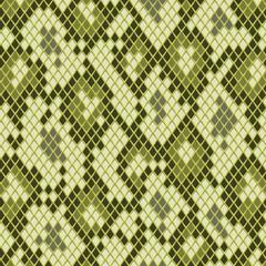 Snake skin in green seamless pattern, vector
