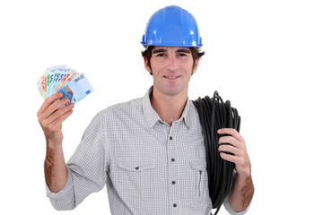 Electrician flashing cash
