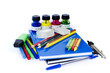 School supplies on isolated background