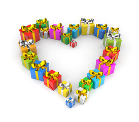 Gifts arranged in shape of a heart