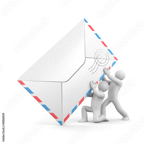 People with mail. Teamwork