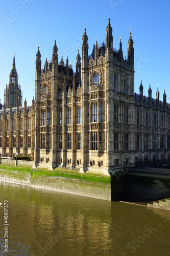 The Palace of Westminster, view from Thames river in London.