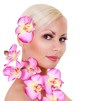 beautiful blonde girl with pink orchid flowers isolated