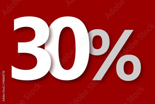 30 % Rabatt Aktion Angebot Sonderangebot Weiss ROT