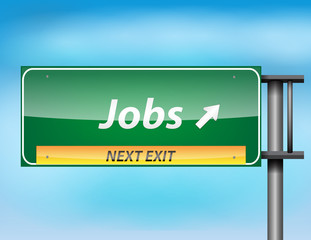 Glossy highway sign with Jobs on next exit