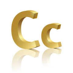 Vector letter C of golden design alphabet