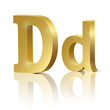 Vector letter D of golden design alphabet