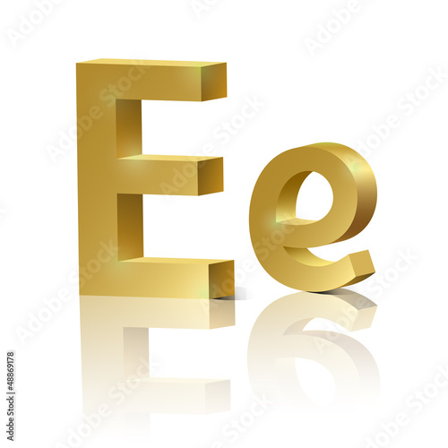 Vector letter E of golden design alphabet