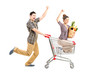 Young happy couple shopping, man pushing a shopping cart