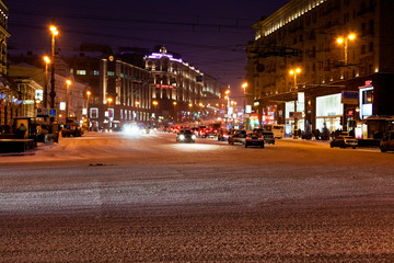 view of Tverskaya street at winter night in Moscow