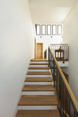 Interior house, wooden staircase