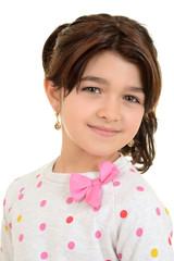 romanian child wearing pink ribbon bow