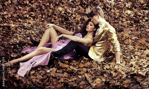 Young couple relaxing during an autumn's day
