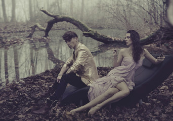 Sexy couple over nature background