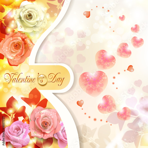 Romantic background for Valentine's day with hearts and roses