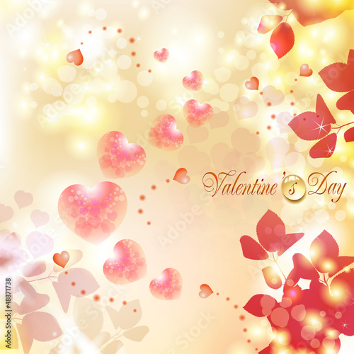 Romantic background for Valentine's day with hearts
