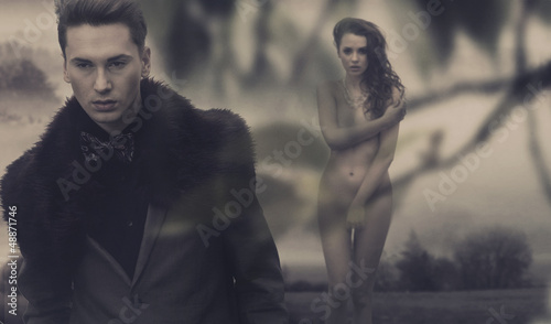 Fashion male model and nude woman