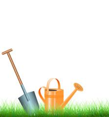 Gartenwerkzeug auf dem Rasen