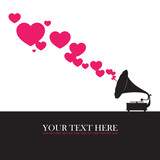Vintage gramophone with hearts. Abstract vector illustration. Pl