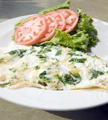 Florentine spinach egg white omelet  feta cheese   tomato lett