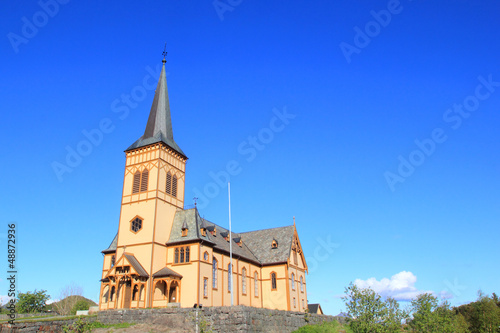 Blue sky over Lofoten's Cathedral