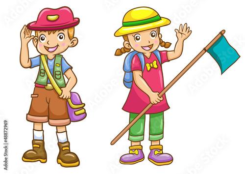 cartoon boy/girl scout
