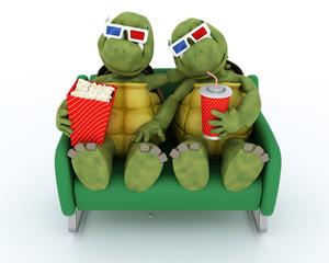 tortoises watching a 3D Movie