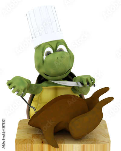 tortoise chef carving a chicken