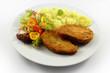 Pork cutlets with salad - Schweineschnitzel mit Salat