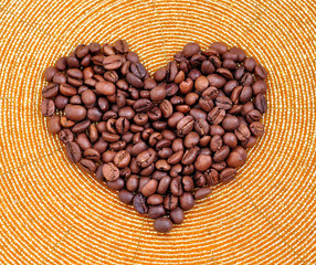 coffee seeds shape of heart to valentine's day