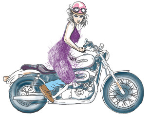 woman posing on a motorcycle - drawing into vector