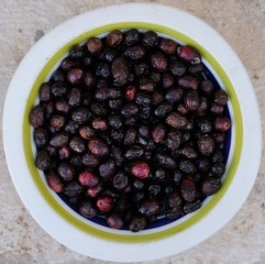 Italian Cuisine - dish with black olives and salt