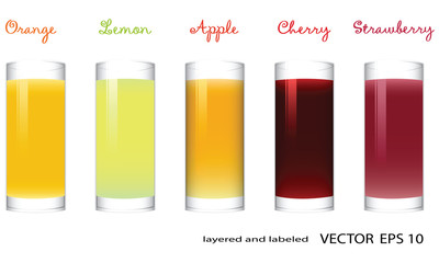 Vector Glasses of Fruit Juice