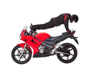 Stunt driver strikes a daring pose